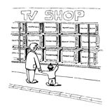 Dad and son have a walk. And looking to the television shop Royalty Free Stock Image