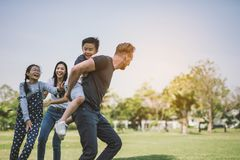 Dad and son having fun outdoors.concept of a happy family.  stock images