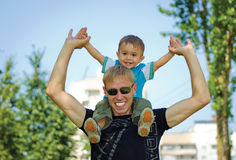 Dad with son at nature Stock Image