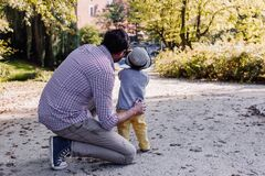 Dad and son in the park Royalty Free Stock Image