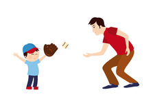 Dad and son playing baseball Stock Images