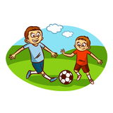 Dad and son playing football. Vector illustration Royalty Free Stock Image