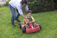 Dad And Son Playing Stock Photography