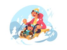 Dad and son sledding. Down hills in winter. Vector illustration Royalty Free Stock Images