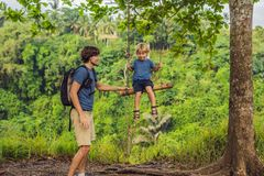 Dad and son on the Swing at the Campuhan Ridge Walk in Ubud, Bali.  stock images