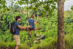 Dad and son on the Swing at the Campuhan Ridge Walk in Ubud, Bali.  stock photo