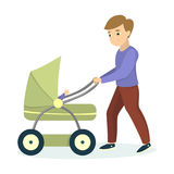 Dad with son. Dad with son walking. Child in stroller with toy. Happy fatherhood Royalty Free Stock Photography