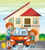 Dad and son washing car at home Royalty Free Stock Photography