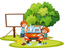 Dad and son washing car on the lawn. Illustration Stock Images