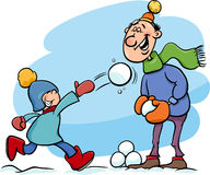 Dad and son on winter cartoon. Cartoon Illustration of Father and Little Son Throwing Snowballs and Having Fun on Winter Time Stock Image