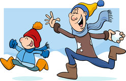 Dad and son on winter cartoon. Cartoon Illustration of Father and Little Son Throwing Snowballs and Having Fun on Winter Time Royalty Free Stock Image