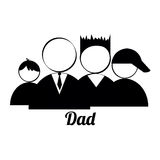 Dad and sons. Icons on white background Stock Photography