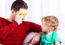 Dad spends his free time with son Royalty Free Stock Image