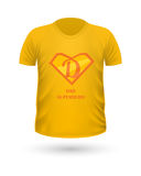 Dad Superhero T-shirt Front View Isolated. Vector. Dad superhero T-shirt front view isolated. Orange t-shirt. Realistic t-shirt vector in flat. Fathers day Stock Image
