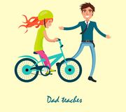 Family Bike Ride with Dad and Daughter on Bicycle Stock Photos