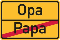 From dad to grandpa german street sign. Vector stock illustration