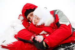 Dad and toddler in snow Royalty Free Stock Photos