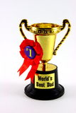 Dad Trophy Cup. A trophy cup for the world's best dad in white background royalty free stock photos