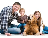 Dad and two daughters  with a dog Royalty Free Stock Image