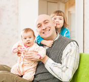 Dad and two daughters Royalty Free Stock Photo