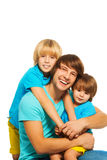 Dad with two little sons Stock Images