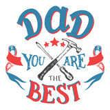 Dad you are the best father's day greeting card Royalty Free Stock Image
