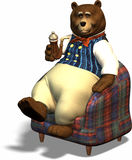 Daddy bear. Old bear relaxing with pipe Stock Images