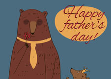Daddy Bear Happy Father's Day. Daddy Bear and his daughter Princess Congratulations inscription Happy Father's Day Stock Photography