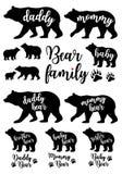 Daddy bear, mommy bear, baby bear, vector set stock images