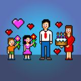 Daddy celebration - cake and flowers pixel art style vector illustration Stock Photos