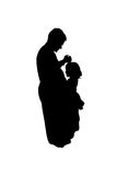 Daddy and Daughter Dance. Silhouette of dad and daughter dancing together. Child is on dad's toes vector illustration