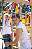 Daddy with  daughter in park. Happy family. Stock Image