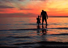 Daddy daughter silhouette Stock Photography