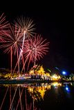 Daddy Day, Thailand. Firework in a night sky on Daddy Day (Father's day) at Royal Park Rajapruek, Chiangmai,Thailand Stock Photos