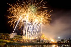 Daddy Day, Thailand. Firework in a night sky on Daddy Day (Father's day) at Royal Park Rajapruek, Chiangmai,Thailand Stock Photography