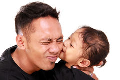Daddy getting kissed Stock Photos