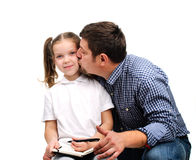 Daddy helps with homework Stock Photo