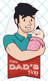 Daddy holding in Arms his Baby in Father's Day, Vector Illustration Royalty Free Stock Images
