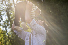 Daddy Holding his Cute Baby Up High Royalty Free Stock Photo