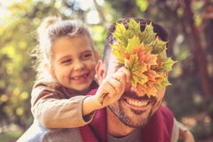 Daddy i will hide you with leaves. stock photos