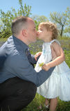 Daddy Kiss. A father hugging his two year old daughter in a blue bonnet flower meadow. Fathers Love royalty free stock images