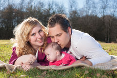 Daddy is kissing his girl Stock Photo
