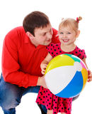 Daddy plays with his beloved daughter Royalty Free Stock Photo