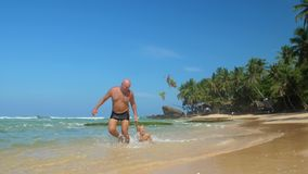 Daddy pulls boy by hand along tropical beach under blue sky. Cheerful mature daddy pulls little boy by hand along picturesque tropical beach under clear blue sky stock video