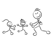 Daddy running kids sketchy characters isolated Royalty Free Stock Photos