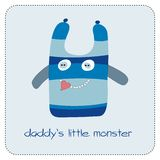 Daddys little monster. Cute  card with little monster Stock Photos