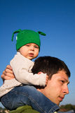 On Daddy's Shoulders Stock Image