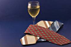 Daddy's ties and wine Stock Images