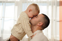 Daddy with the son. Happy daddy with the son close up Stock Photo