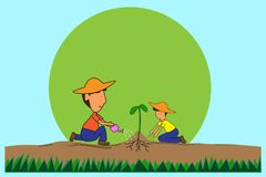 Daddy and son is sitting a tree planting fertilizer and empty space for text. Background development for learning concepts. Flat cartoon and section view Royalty Free Stock Photos